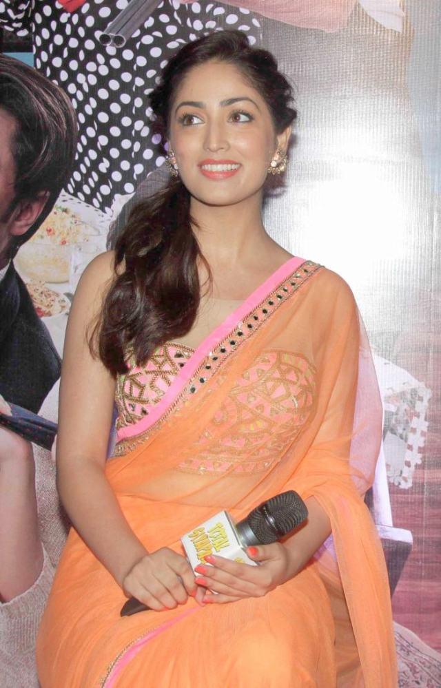 Actress Yami Gautam Hot in Orange Saree Photos