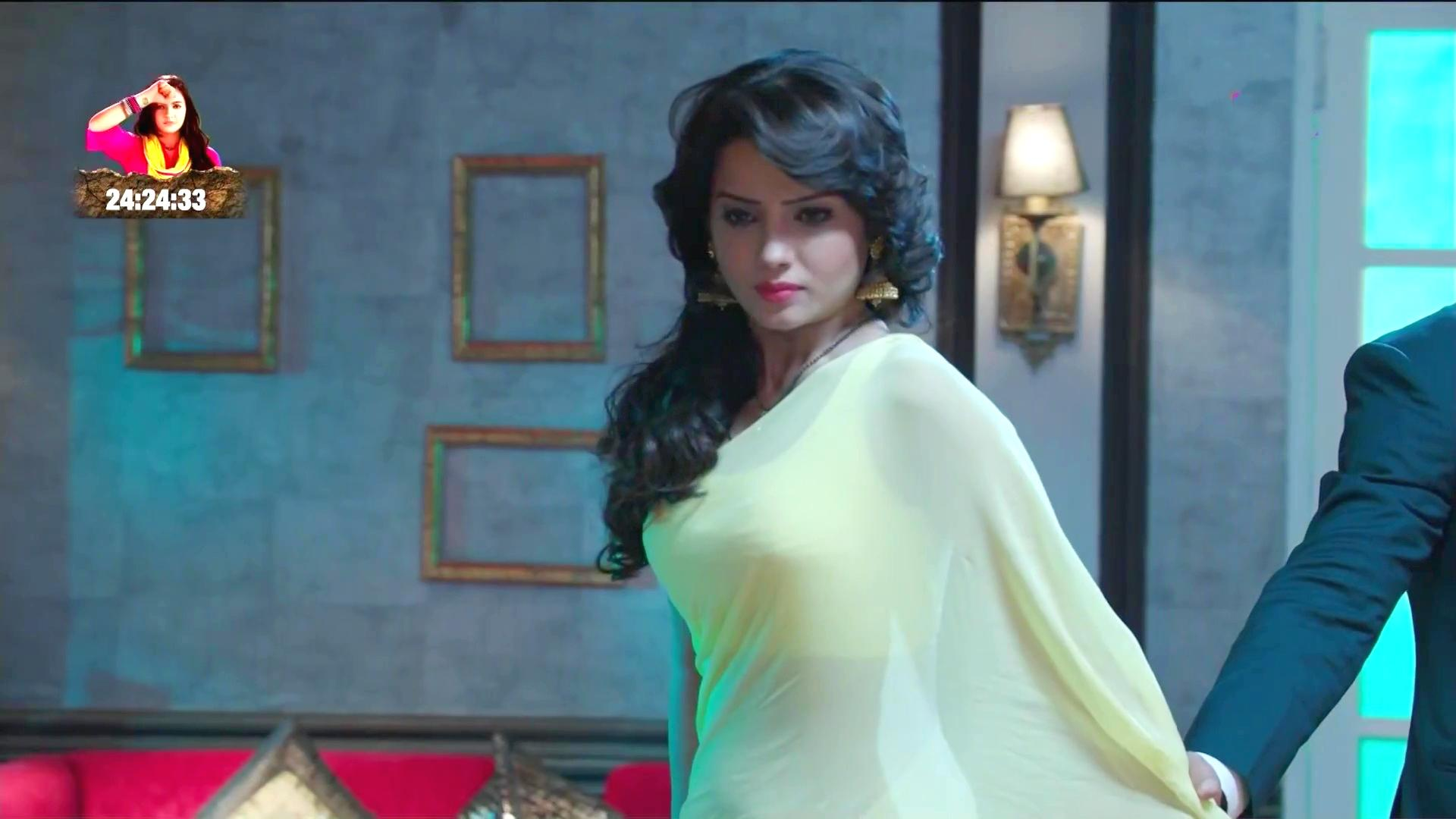 Adaa Khan Sexy Transparent Saree Hindi Serial Busty -1717