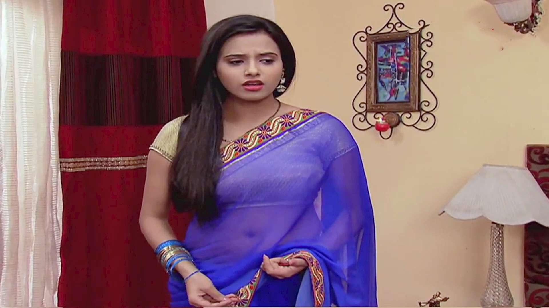 Nisha Nagpal Plumpy Navel See Through Sari Transparent